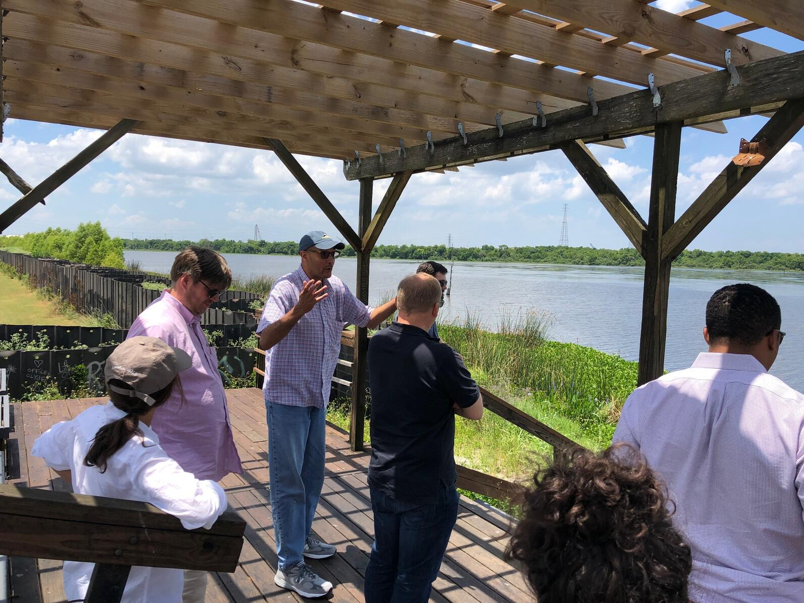 Charles Allen explaining how the Bienvenue Wetland Triangle swamp has disappeared.
